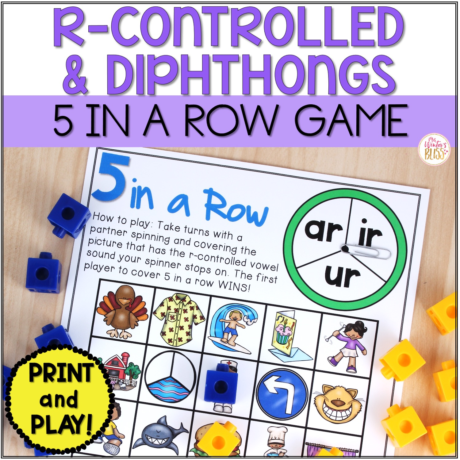 Phonemic Awareness Activities - R Controlled Vowels \u0026 Diphthongs Worksheet  Games - Mrs. Winter's Bliss [ 1500 x 1500 Pixel ]