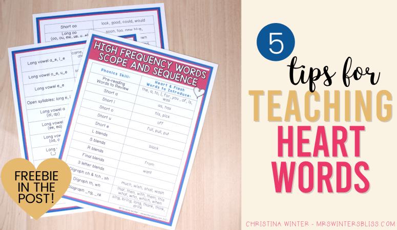 Tips for Teaching Heart Words