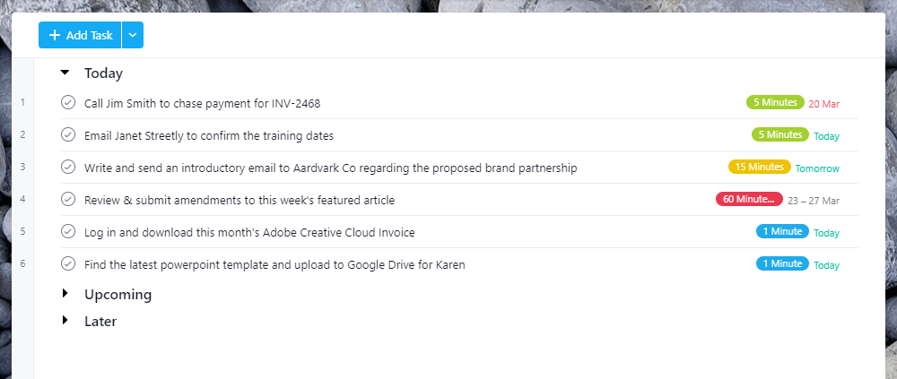 Screenshot of Asana's 'My Tasks' page with only the today section expanded.