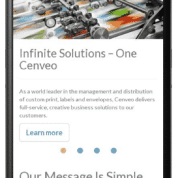 Cenveo's Mobile Reponsive Homepage launched in Kentico