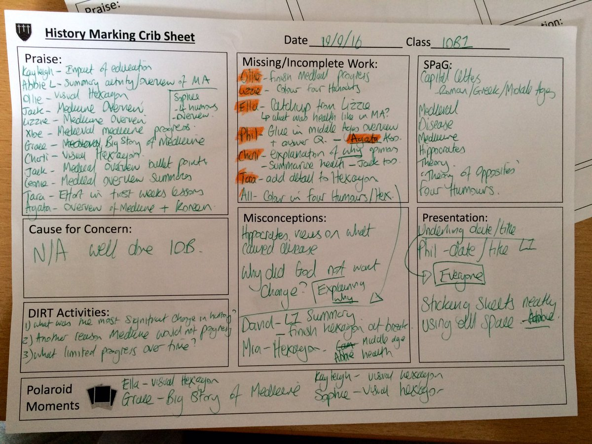Marking Crib Sheet Amp Whole Class Feedback Mrthorntonteach