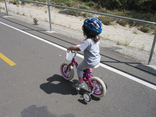 Little girl on her bike with training wheels
