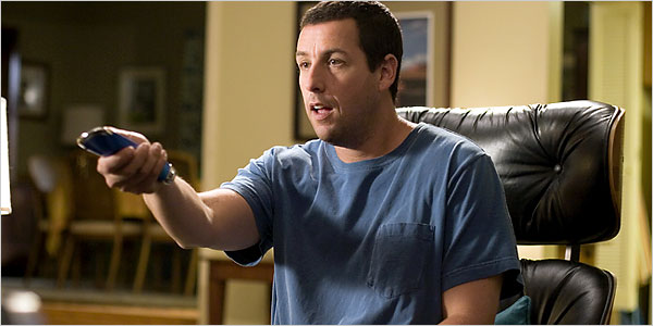 "Adam Sandler in the movie ""Click"" with a remote control"