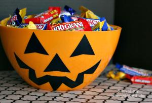Jack o lantern bowl of candy