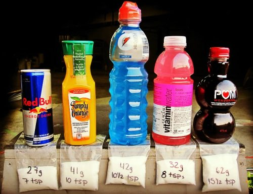 Drinks with their sugar content next to them. Could you be a sugar addict?