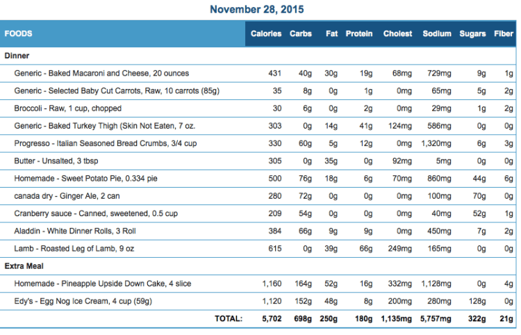 Michael's November 28 Eating Journal Stats