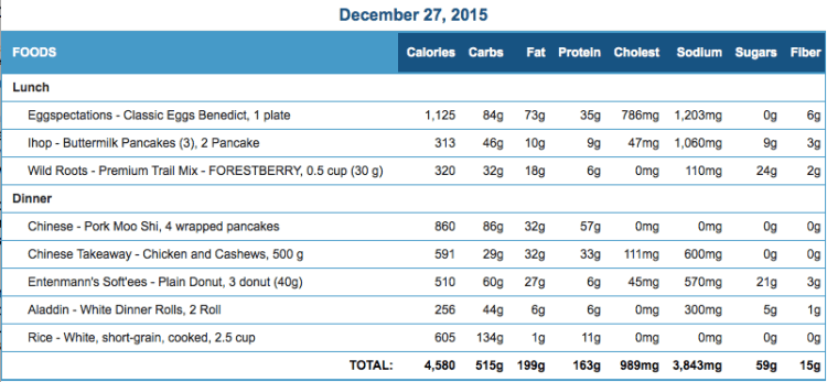 Mike's Diet Journal Entry for Dec 27
