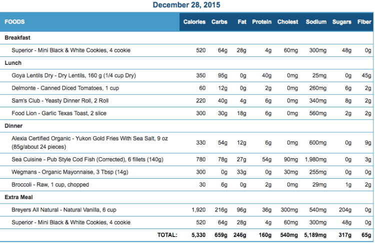 Mike's Diet Journal Entry for Dec 28