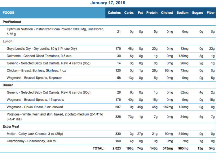 Mike's Diet Journal Entry for January 17 2016