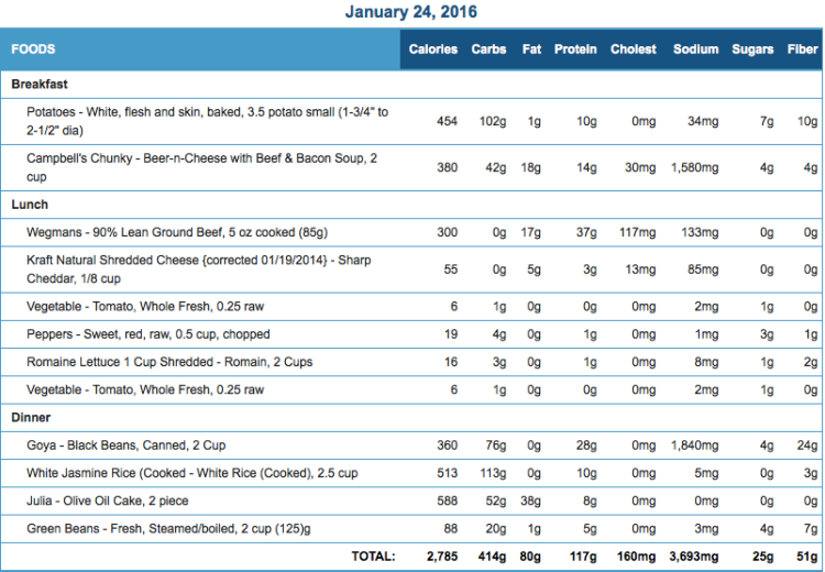 Mike's Diet Journal Entry for January 24 2016