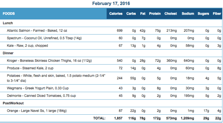 Mike's Diet Journal Entry for Feb 17 2016