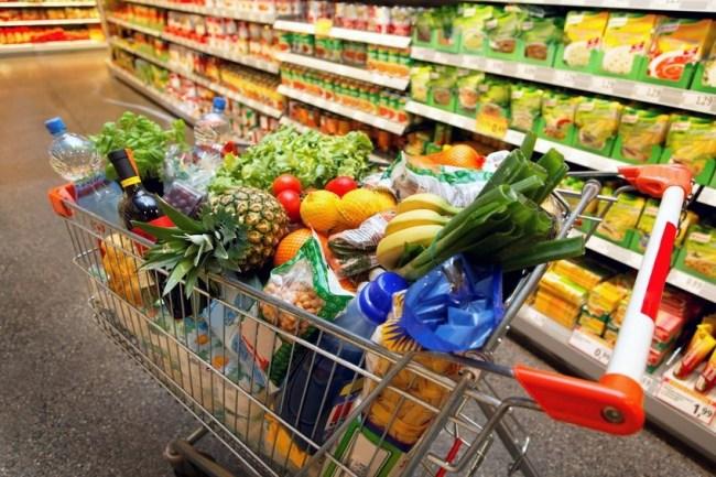 Grocery shopping basket full