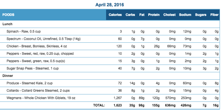 Mike's Diet Journal Entry for April 28 2016