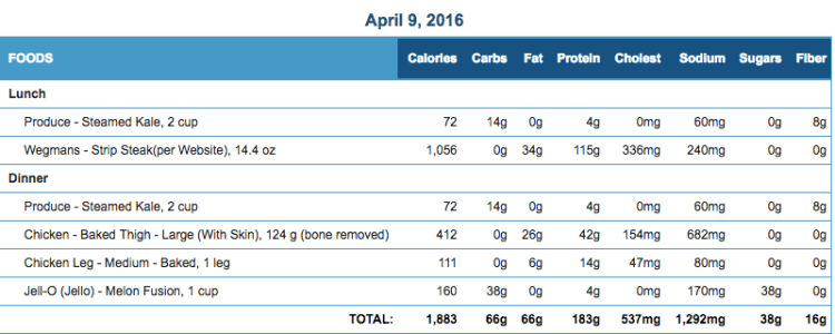 Mike's Diet Journal Entry for April 9 2016