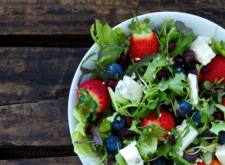 Healthy fruit salad with cheese