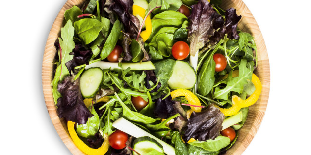 Salad bowl with green salad