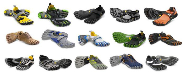 Picture display of 15 pairs of different Vibran Five Fingers Shoes courtesy of Builtlean.com