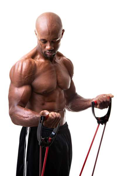 Black man flexing while using Resistance bands with handles