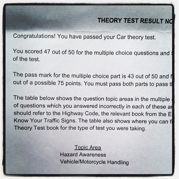 20120207 Car theory test pass