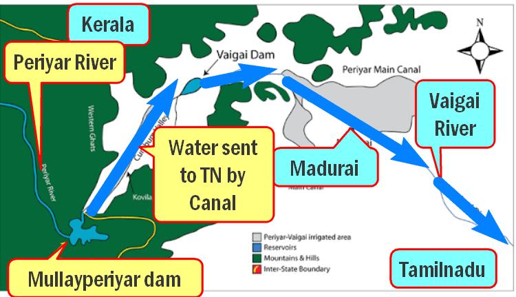 Map Mullaperiyar dam