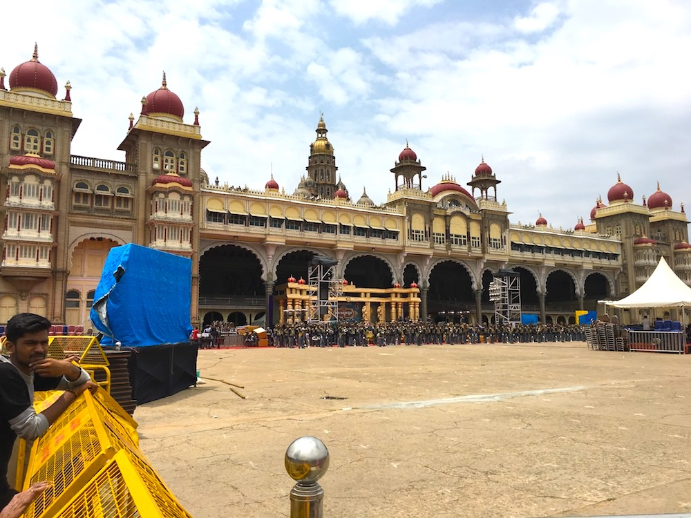 Marching band practicing outside Mysore Palace