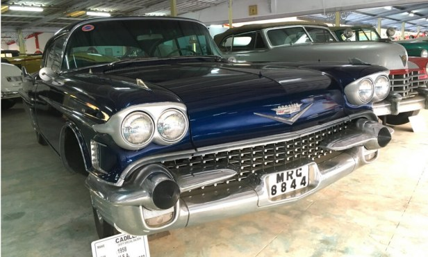 Cadillac, a 1958 model from the USA. Interesting fact about this 14 feet car is that it has automatic gears, powered windows and air-conditioning.