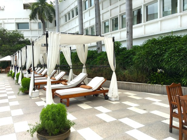 Lounge benches near the swimming pool