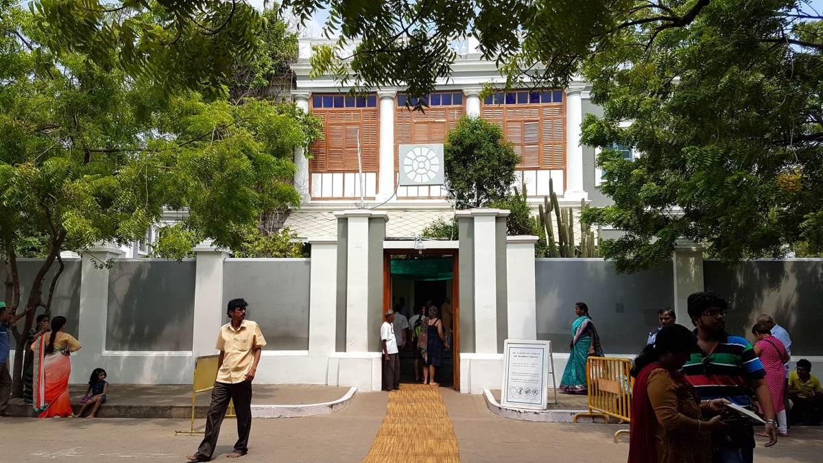 The entrance of Aurobindo Ashram