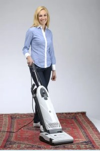 Lindhaus Diamante Upright Vacuum is light in the hand.