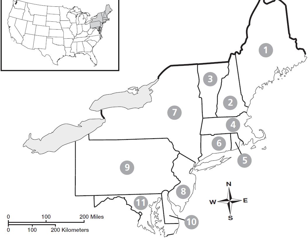 Blank Map Northeastern United States