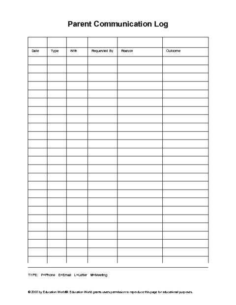 Parent Teacher Communication Log 5th Grade Social Studies