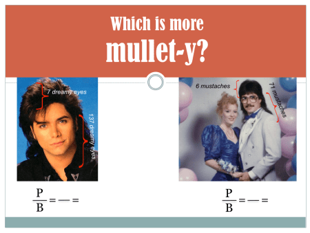 Comparing the mullet ratio between John Stamos and a 1980s couple at the prom. His mustache and mullet are both... substantial.