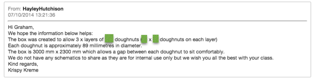 an email from Krispy Kreme, describing measurements of the box, but with the number of donuts blocked out.