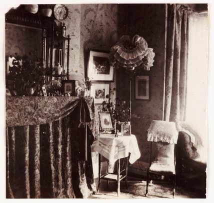 Victorian parlour showing curtained fireplace