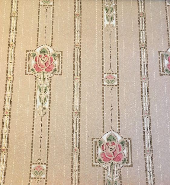 Historic wallpaper 1910s Art Nouveau floral stripe