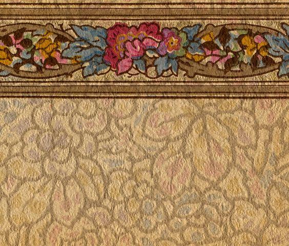 Historic wallpaper 1920s floral wallpaper border