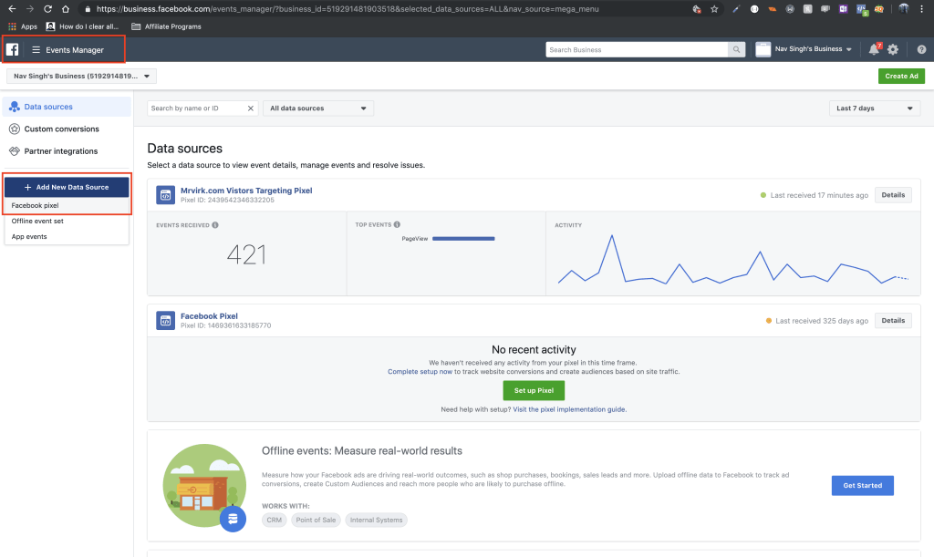 create facebook pixel in event manager in facebook business