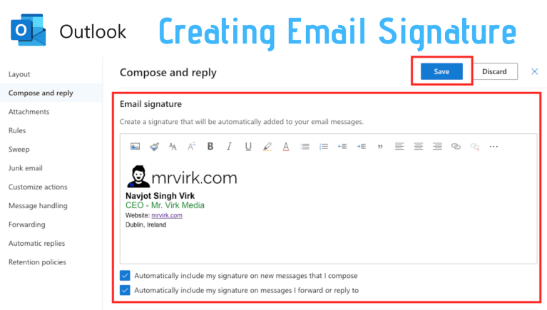 creating email signature in outlook email