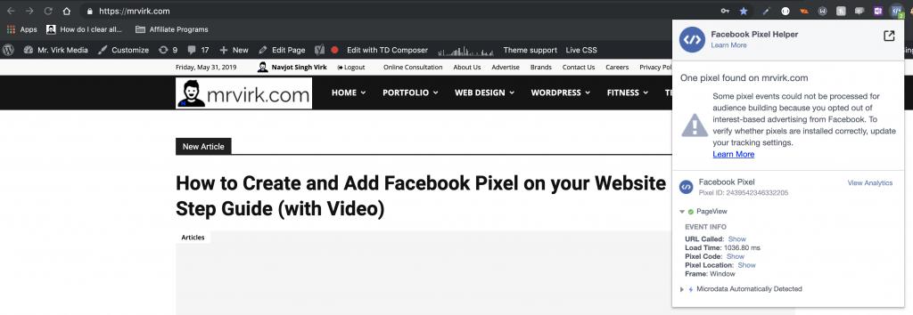 facebook pixel helper example