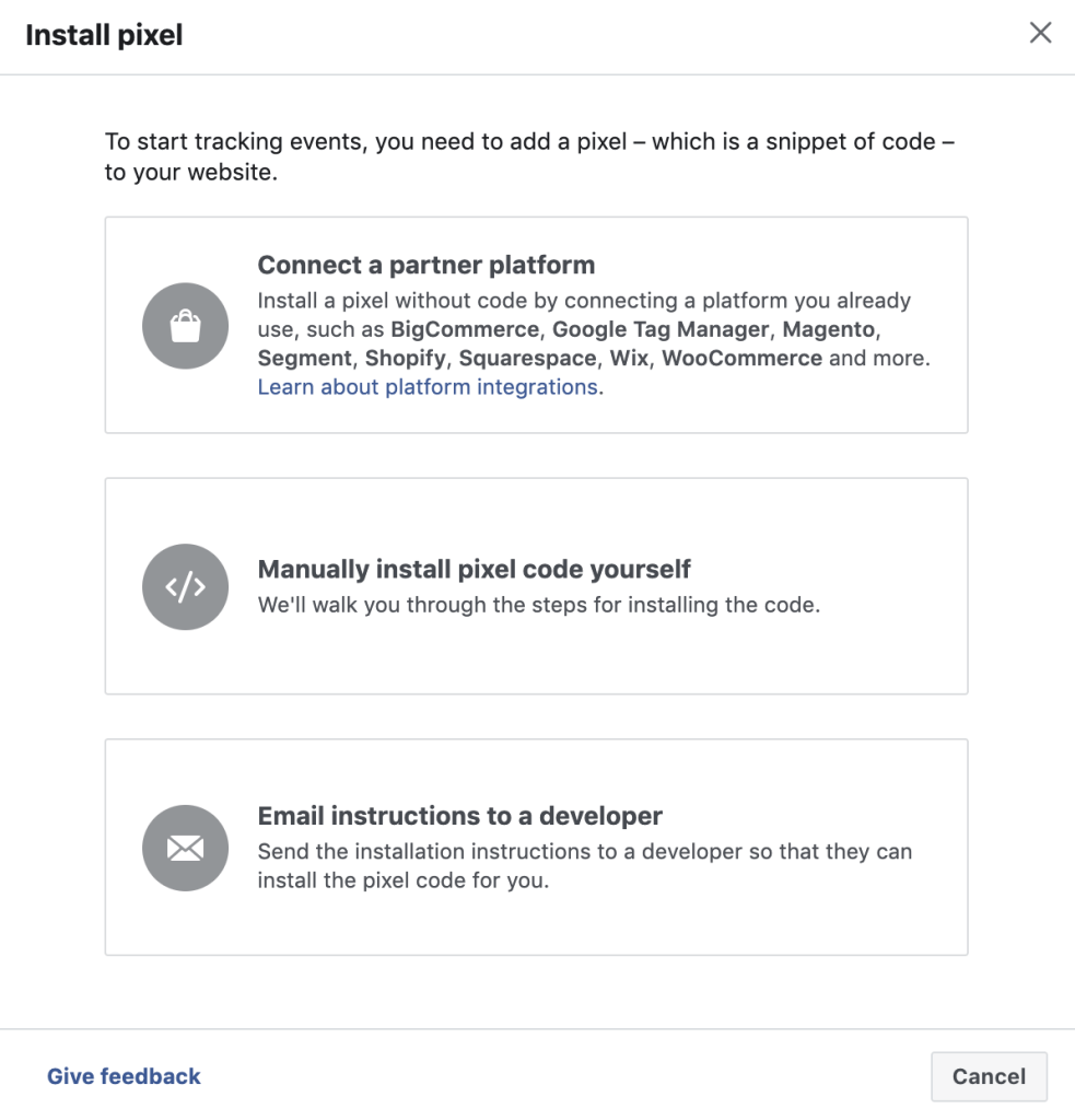 multiple ways you can install facebook pixel