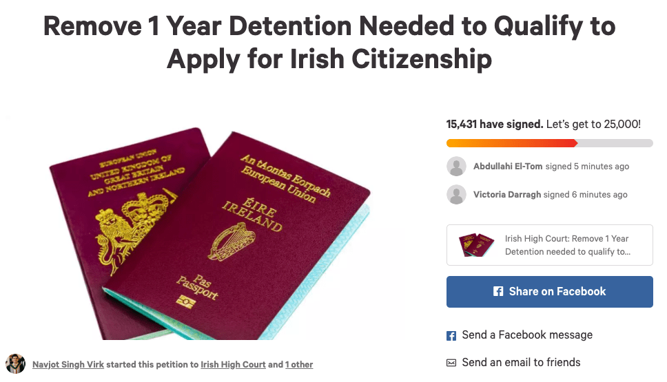 updates on the petition - Remove 1 Year Detention Needed to Qualify to Apply for Irish Citizenship Updates page
