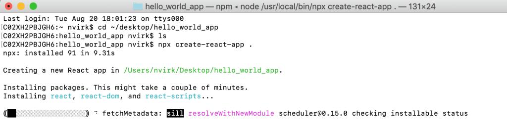 CreateReact App using Terminal
