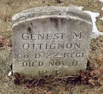 Genest M. Ottignon's grave marker.