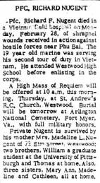 Richard F. Nugent's obituary, Westwood News - 3/10/66.