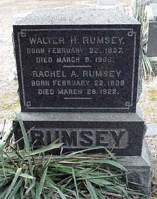 Walter H. Rumsey's grave marker.
