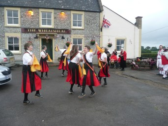 The Wheatsheaf, Corston 2012 - evening dance out with Priston Jubilee Morris. it was a little windy, wet and had its hazards as a dance surface. But it was outside a pub!