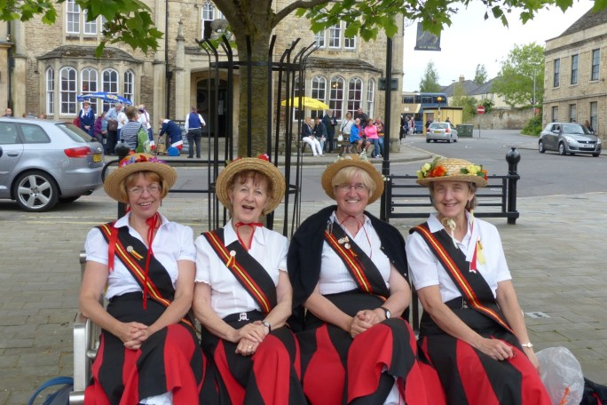 'Four Little Maids From School'. Any opportunity to sit down - just before we find a coffee shop