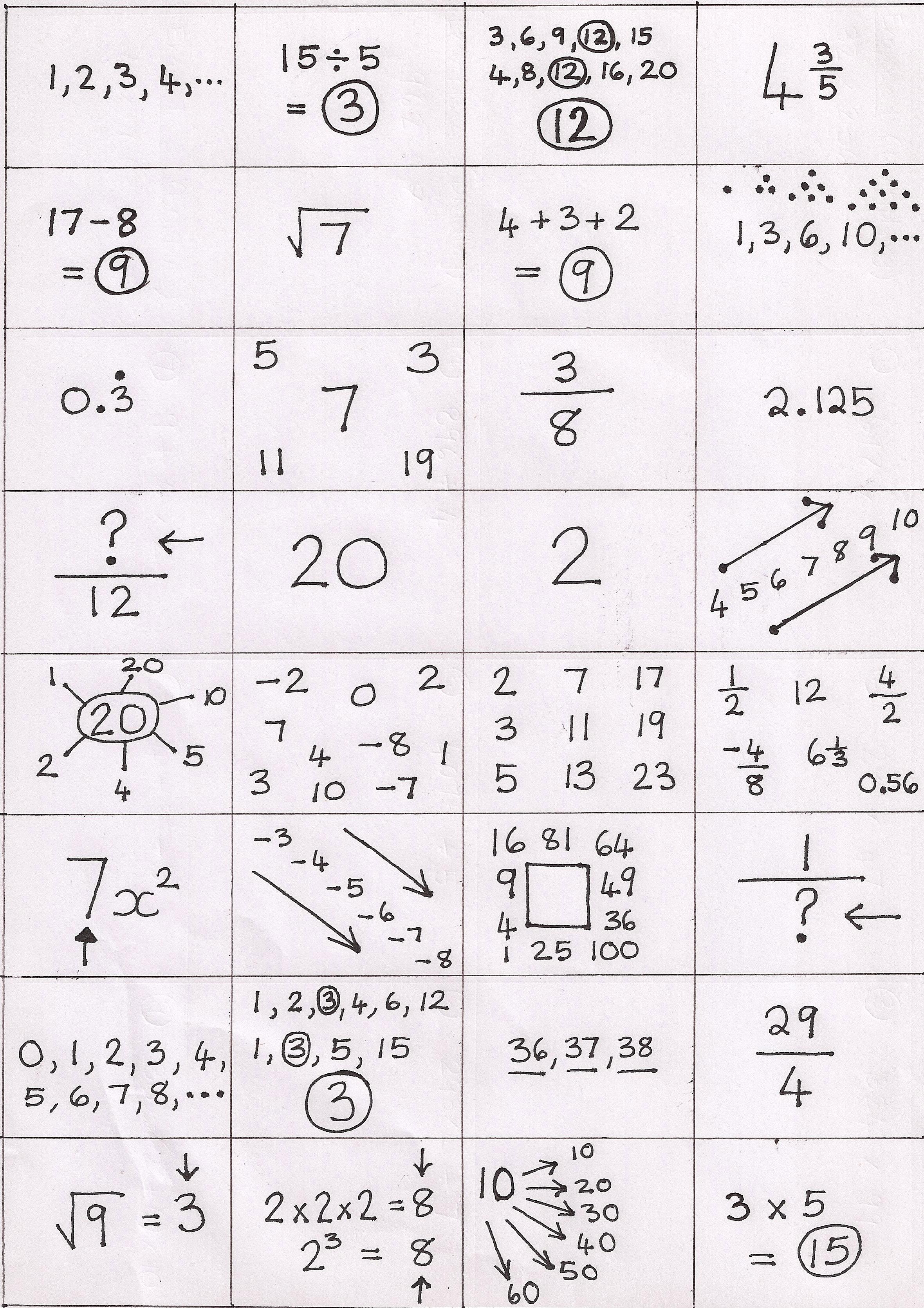 Math Fun Worksheet Ks3