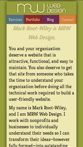 MRWweb.com on a small-size screen.