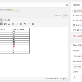 A table formatted with WordPress